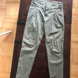 Zara khaki green paperbag pants